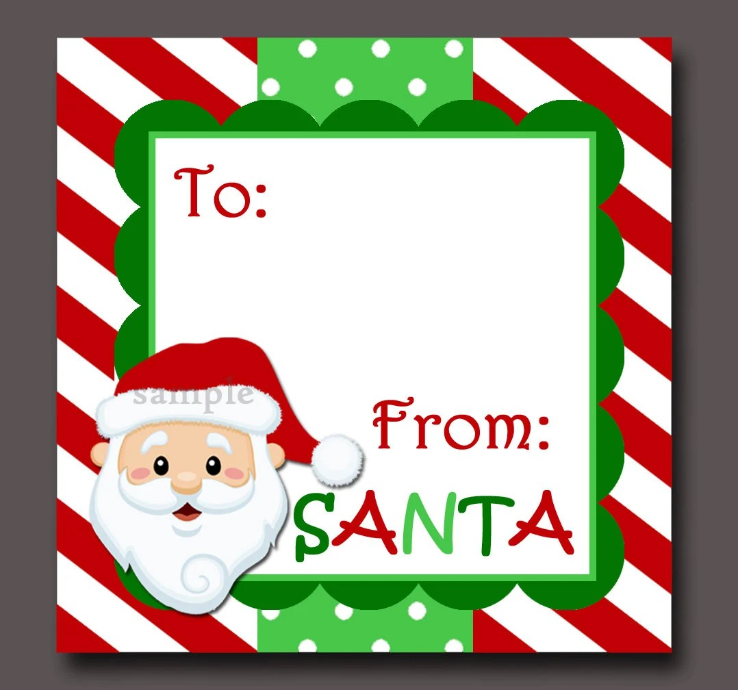 Santa T Tags Printable Instant Download