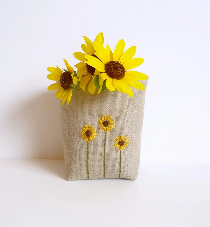 Linen Burlap Basket Sunflowers Hand Embroidered - Rustic Storage Bin - Burlap Bucket - Burlap Home Decor - JuneberryStitches
