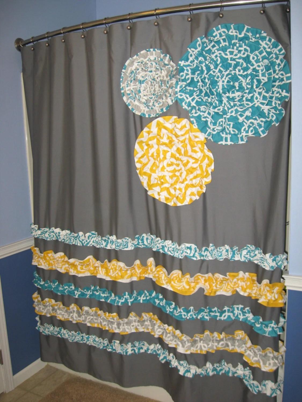 Yellow And Gray Chevron Shower Curtain