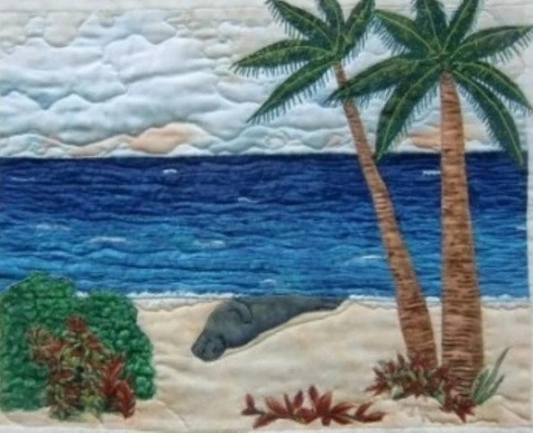 Hawaiian Tropical Beach Landscape Seascape Quilted Wall