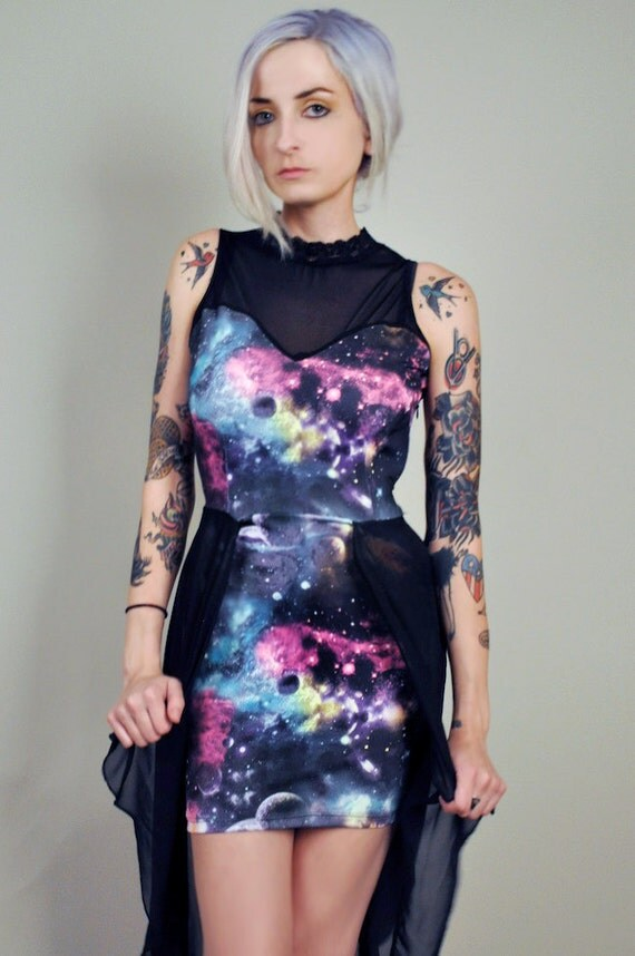 Space Galaxy Fishtail Dress by veraseyecandy on Etsy