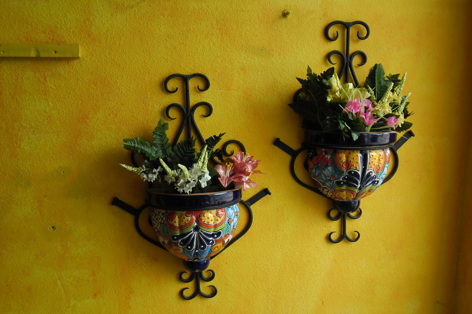 Wall Planters Wrought Iron with Talavera by CasaMexicana ... on Iron Wall Vases id=67543