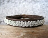 CLASSIC Brown Swedish Lapland Sami Bracelet Reindeer Leather Pewter Bracelet Handmade - HankandFriends