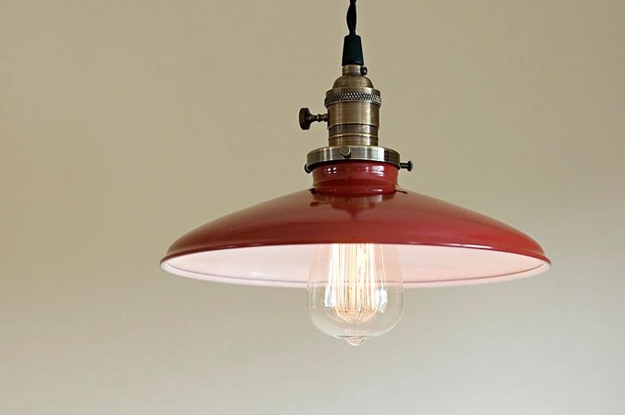 Vintage Industrial Style Red Porcelain Enamel By