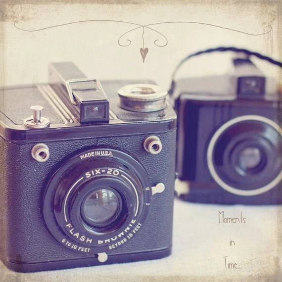 Vintage Cameras - Sepia Photograph - Whimsical - Vintage - 8x8 Fine Art Photography Print - Neutral Home Decor - BLintonPhotography