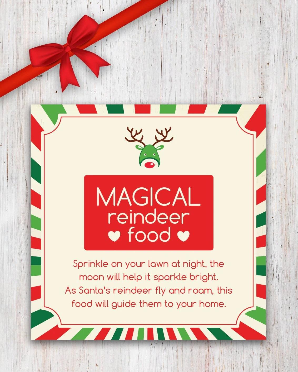 Magical Reindeer Food Printable With Poem