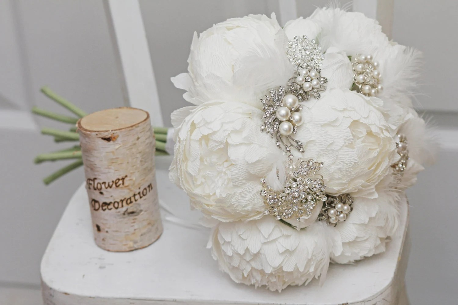 white paper peonies and brooch bouquet, broach bouquets, alternative wedding bouquet,