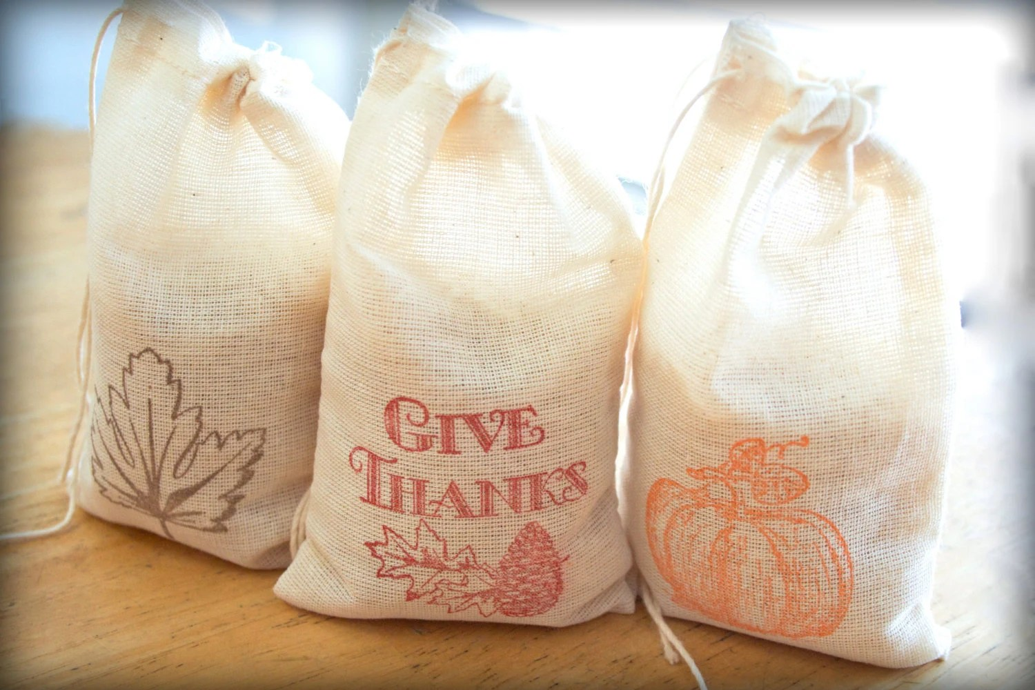 Thanksgiving Fall Set muslin cotton favor bag 15 3X5 with stamp gift sack thanksgiving party goodies treat bag - CherryDreamsCreation