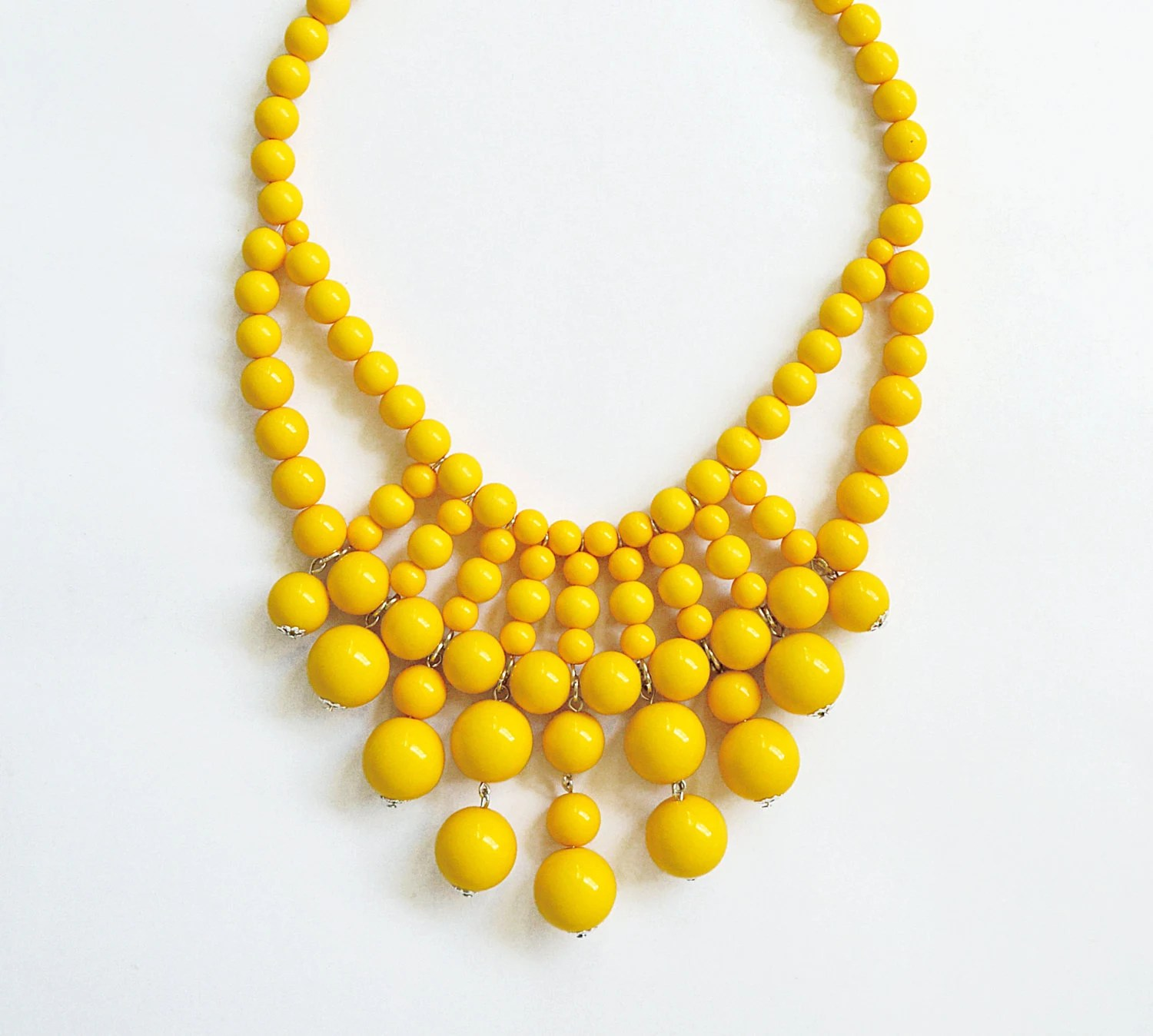 Bauble Necklace - Beaded Necklace - Yellow Necklace - Bib - Statement Necklace - Chunky Necklace - Anthropologie Inspired - Ship from US - ShamelesslySparkly