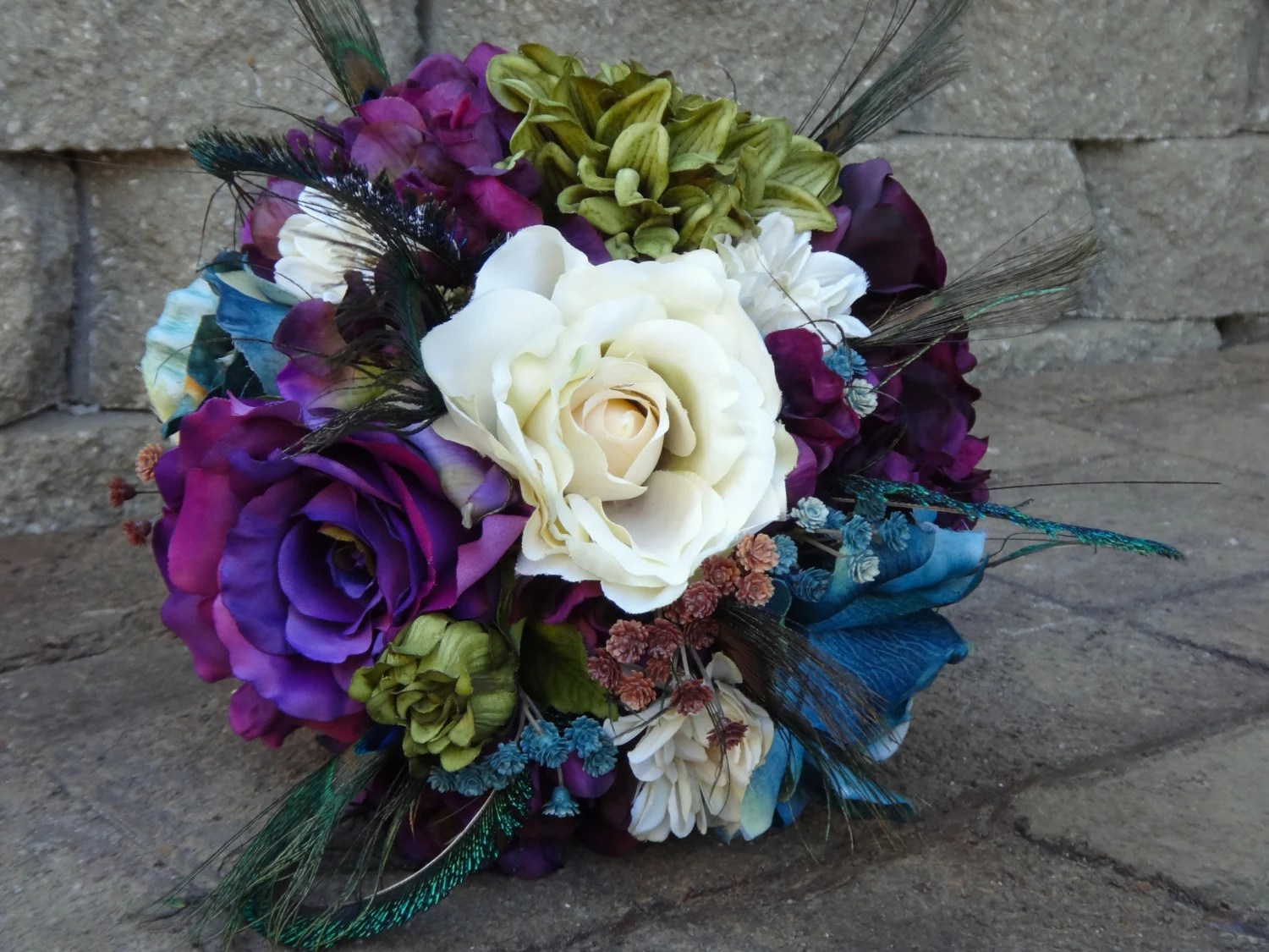 Peacock Bridal Bouquet Eggplant Purple Teal Olive Green