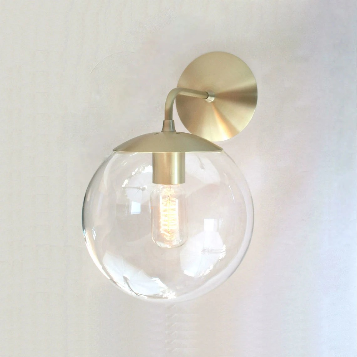 Mid Century Modern Wall Sconce Light 8 Clear Glass Globe on Wall Sconces Modern id=55954