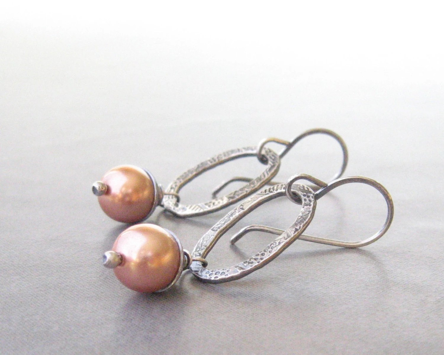 peach pearl and sterling silver dangle earrings, oxidized metalwork dangle earrings - theBeadAerie