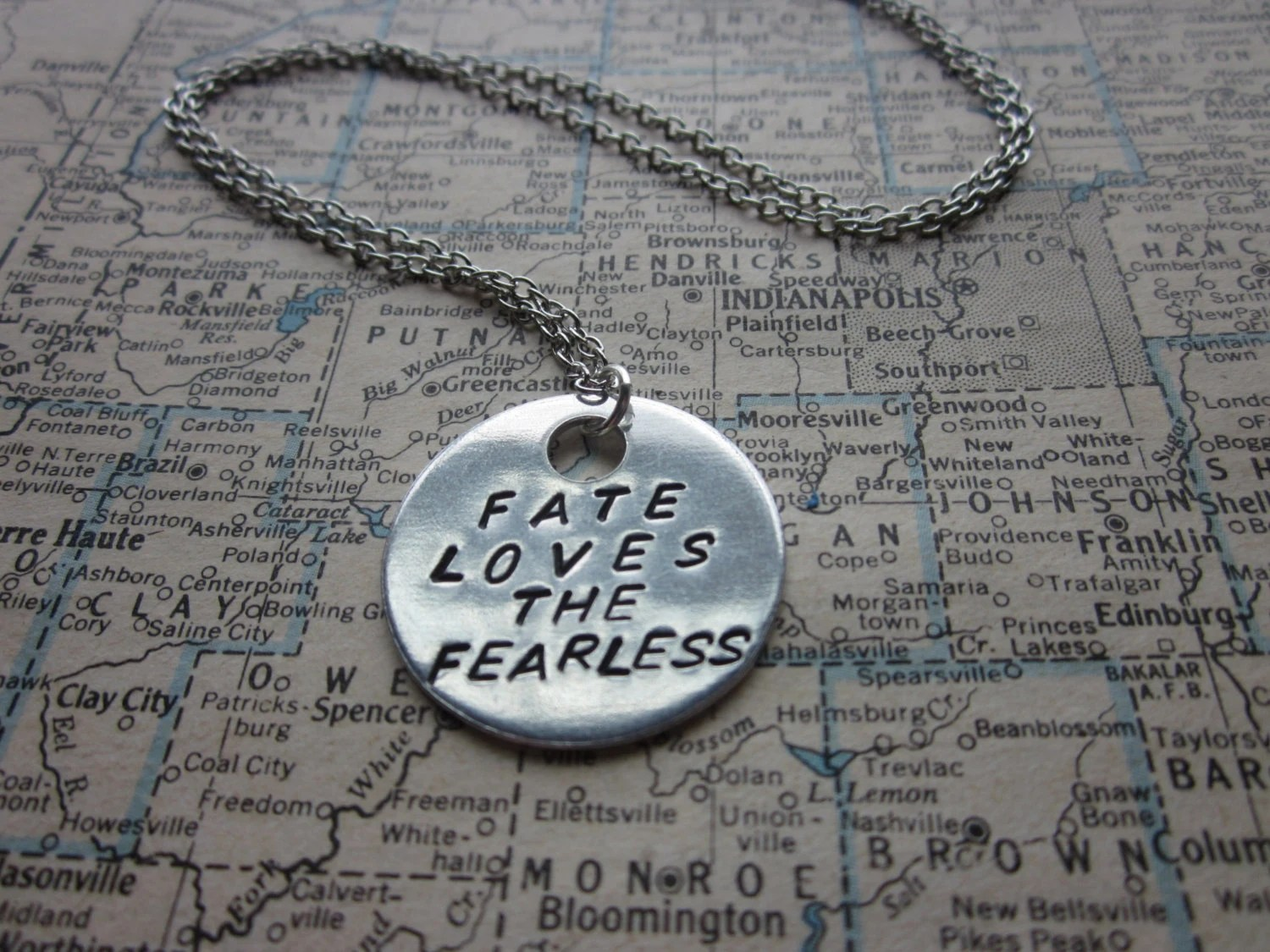 Fate Loves The Fearless - Metal Hand Stamped Necklace