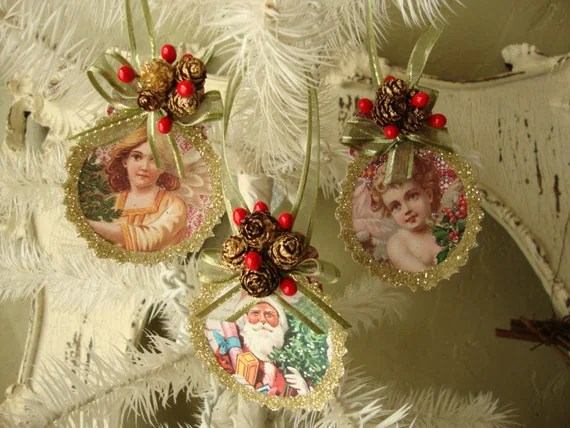 Victorian Christmas Ornaments Gift Tags Paper Ornaments Santa