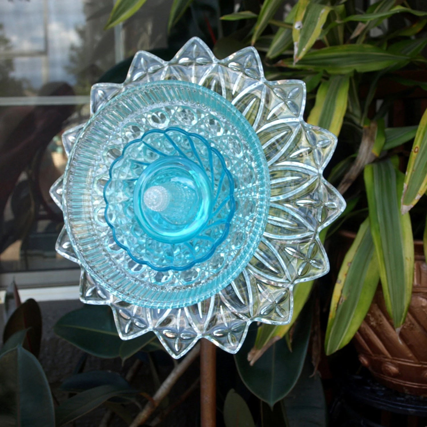 Blue Depression Glass Repurpose Plate Flower Federal Petal