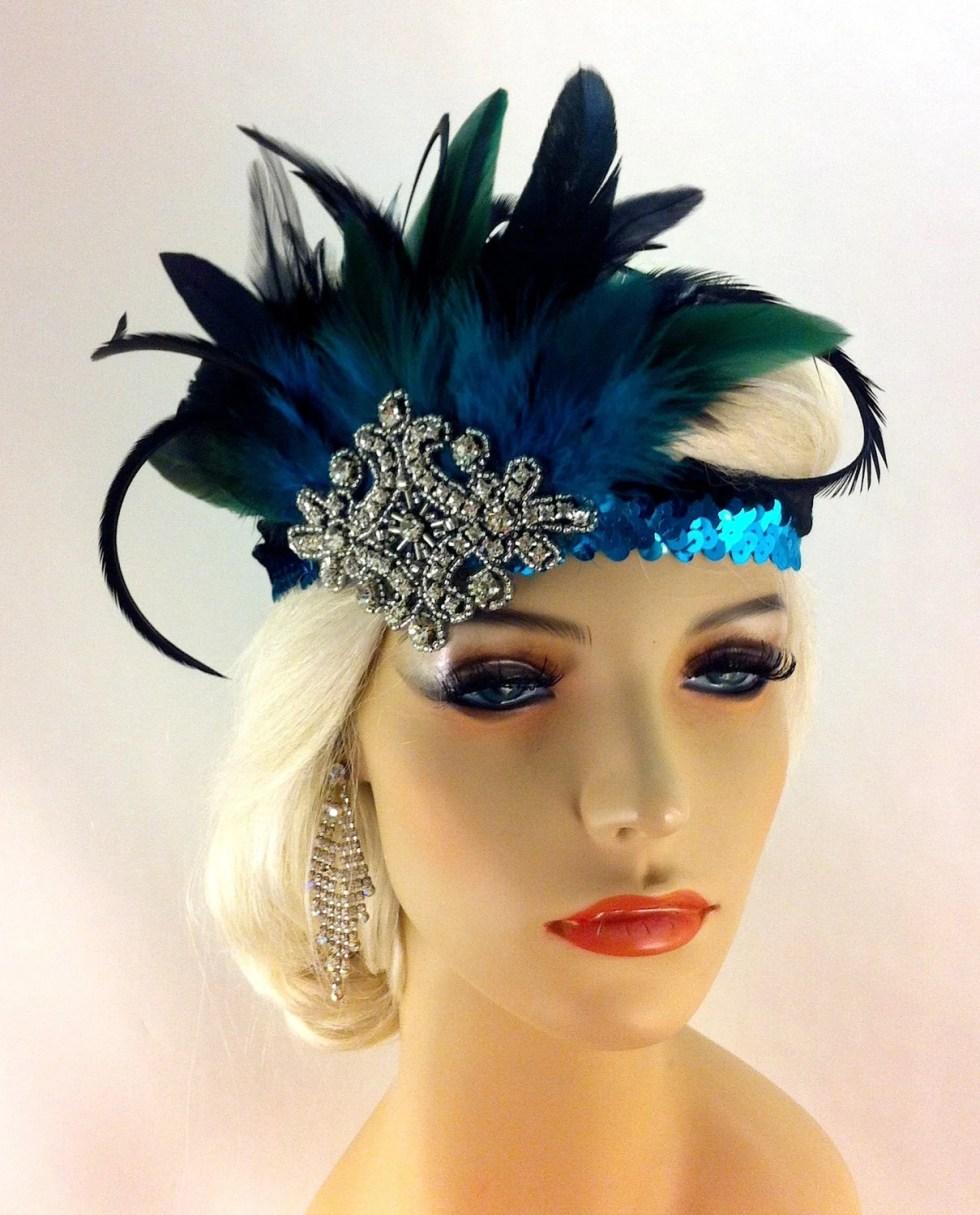 Great Gatsby Headband, Flapper Headband, Downton Abbey, Headband, 1920s Head Piece, Art Deco Headband, Turquoise and Black, Speakeasy