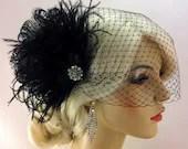 Black Bridal Hair Clip, Bridal Feather Fascinator, Bridal Fascinator, Bridal Headpiece, Bridal Hair Accessories, Bridal Veil