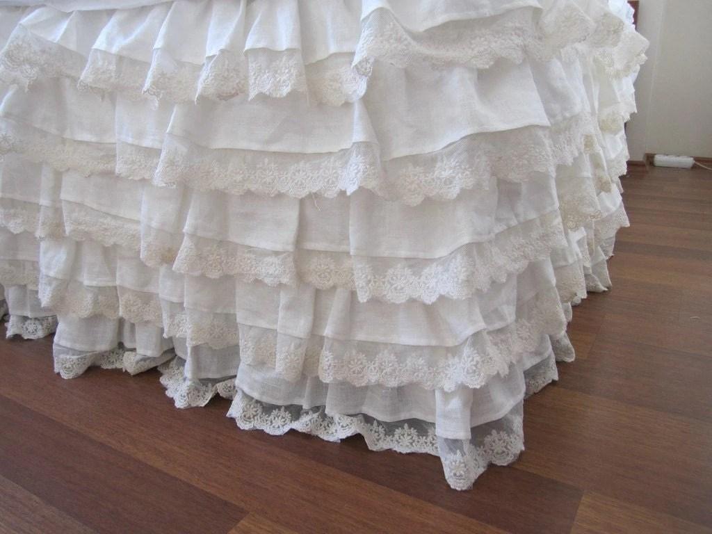 Linen Bed Skirt Ivory Lace Waterfall Ruffled Bedding Bedskirt