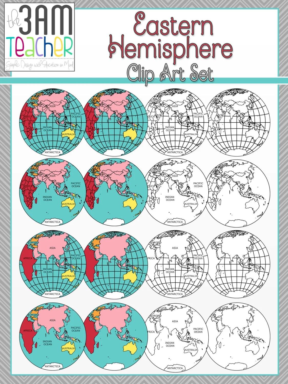 World Maps Clip Art Eastern Hemisphere Globe Set By