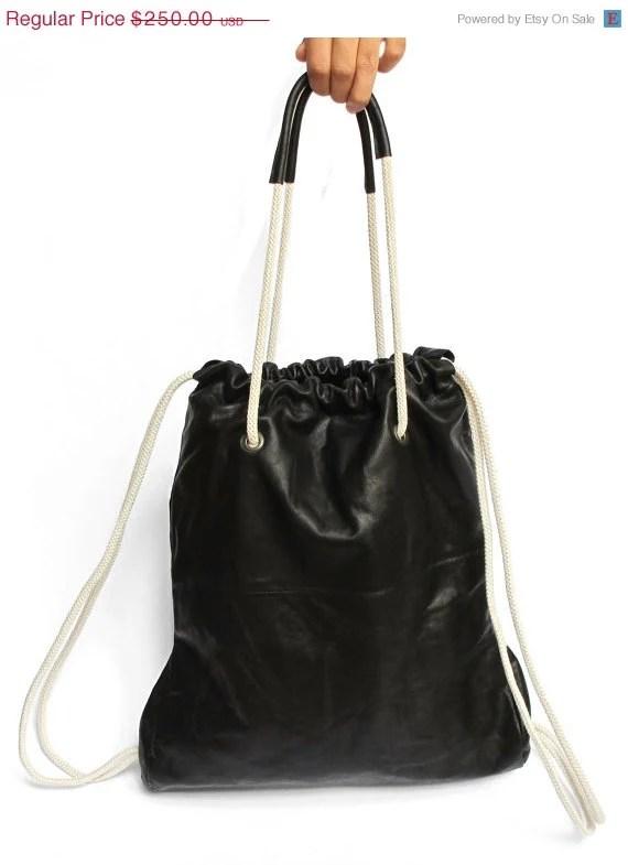 SALE 15% Black Leather Backpack,Tote bag, JUD Hand Made,leather bag,gym bag, student bag,Travel bag,unisex,fashion - JUDtlv