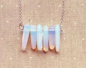 Moonstone Necklace- Gemstone Necklace Opal Necklace Opalite Necklace Delicate Jewelry Gem Minimalist Jewelry Necklace Birthstone Necklace - lowelowejewelry