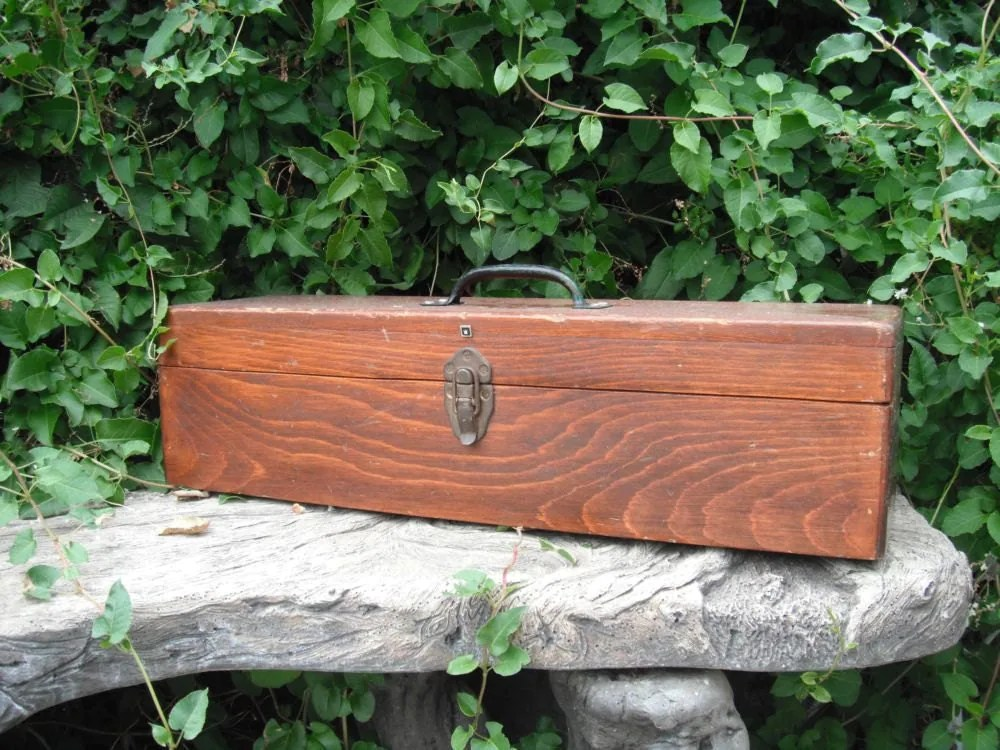 Vintage Wooden Box / Large Wooden Rectangle Box ...