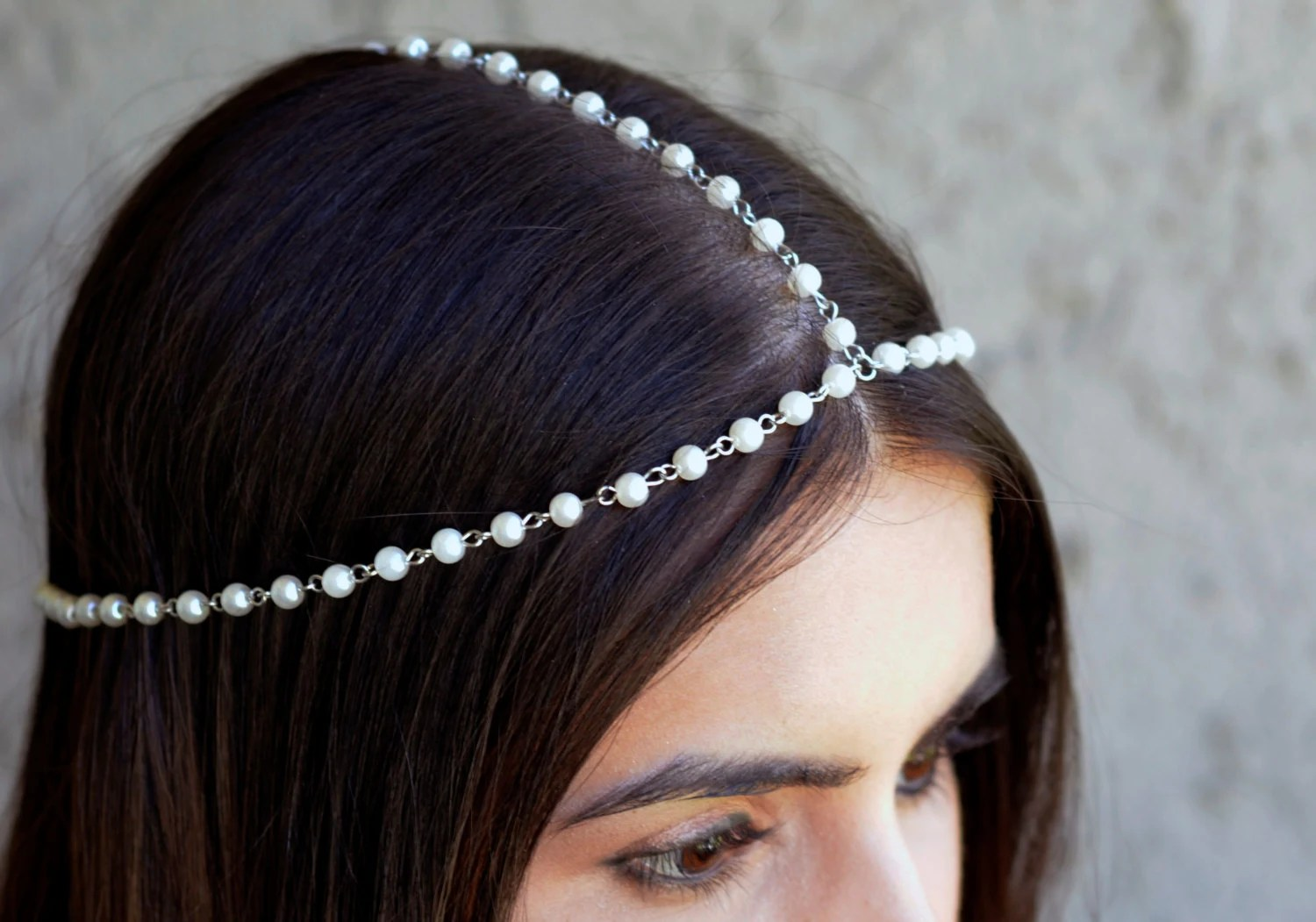 Prom Hair With Head Chain The Diane White Pearl Crown Hair