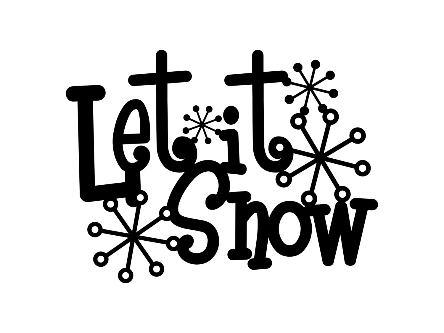 Let It Snow Metal Sign With Snowflakes Black 13 5x10