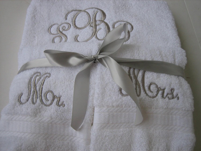 Mr & Mrs Monogram Towel Set Personalized Wedding Towel Set