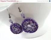 SALE Unique Purple Beaded Crystal Earrings - MegansBeadedDesigns