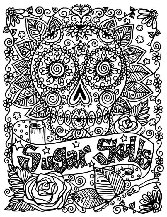 coloring book full of sugar skulls fun and funky