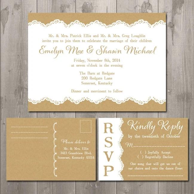 lace wedding invitation and rsvp card set diy printable invitation