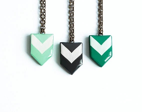 Chevron necklace, geometric jewelry, green necklace, black necklace - Lepun