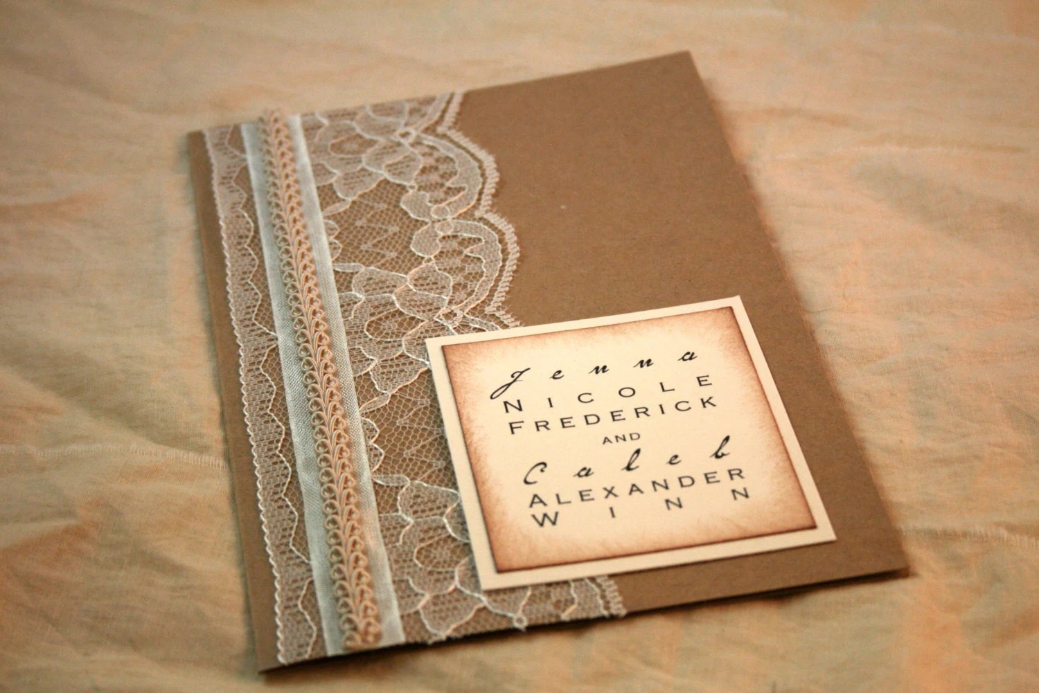 Kraft Paper Wedding Invitation – Art Deco – Set of 20 – Lace Wedding ...