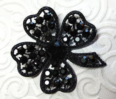WEISS BLACK Four Leaf Clover Brooch w Jet Rhinestones - GiltyGirlVintage