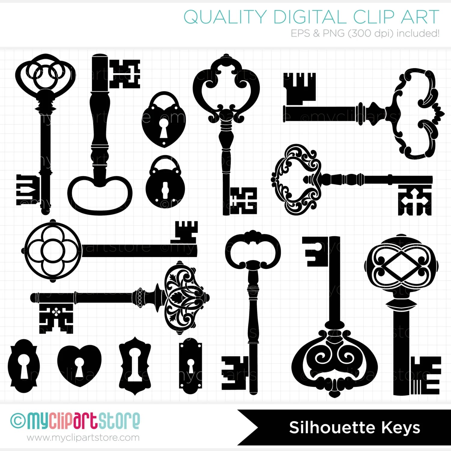 Digital Stamps Skeleton Keys Black Silhouettes Digital