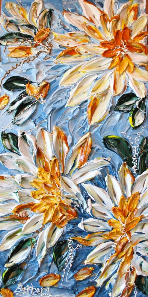 Sunshine On My Shoulders - Abstract Art, Floral Impasto Painting, 16x32, Item# 2