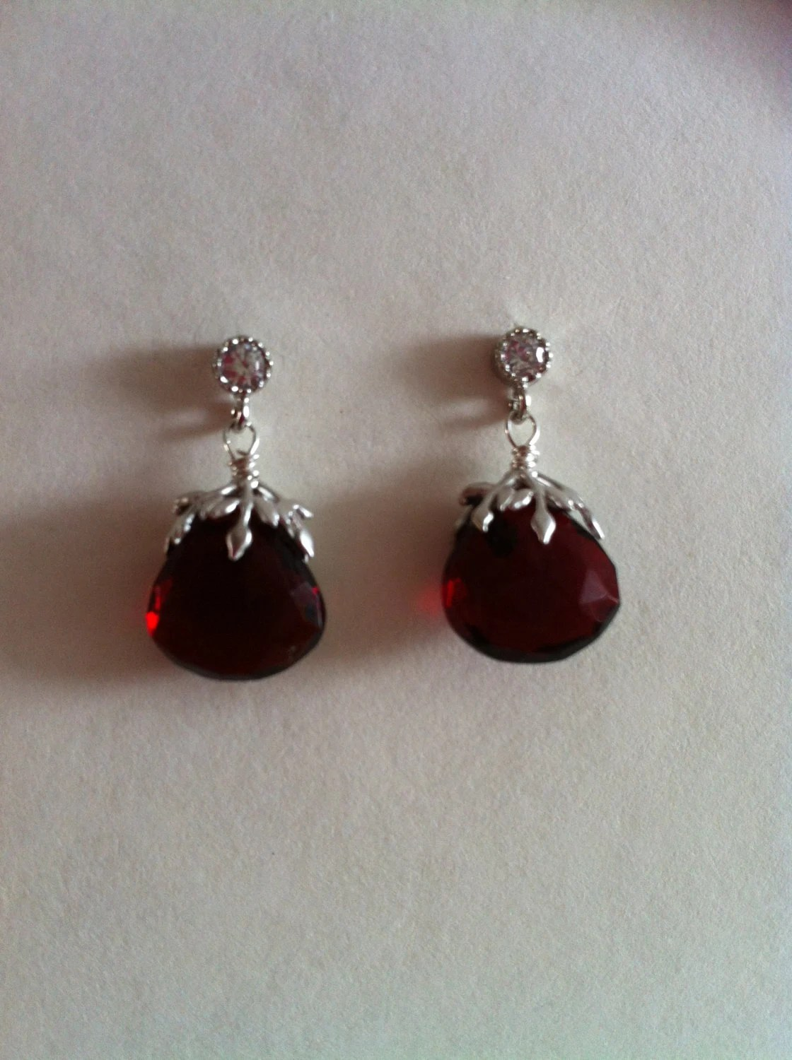 SALES - Faceted Red Quartz Dangle Earrings with Cubic Zirconia Ear Stud, Bridal Earrings, Gift, Christmas Gift - RainbowKnit