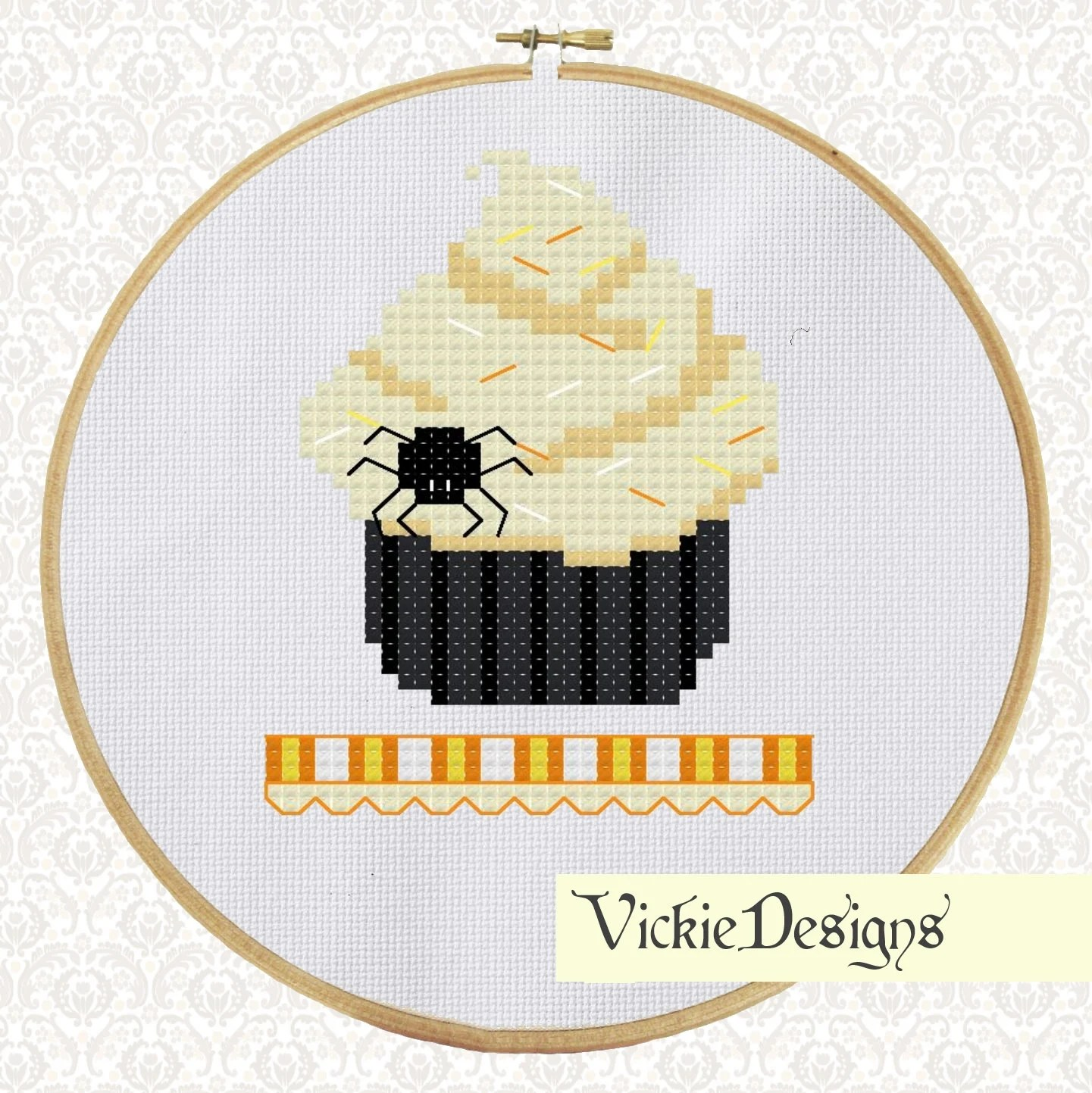 Spider Halloween Cupcake Cross Stitch Pattern