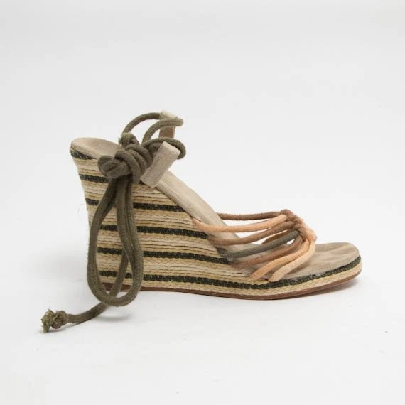 1990's Green Striped Wedges - Vintage 1970's Beige Platform Wedge Sandals Hippie Brown Indie Summer Shoes Size 38 EU, 7 1/2 US - mijumaju