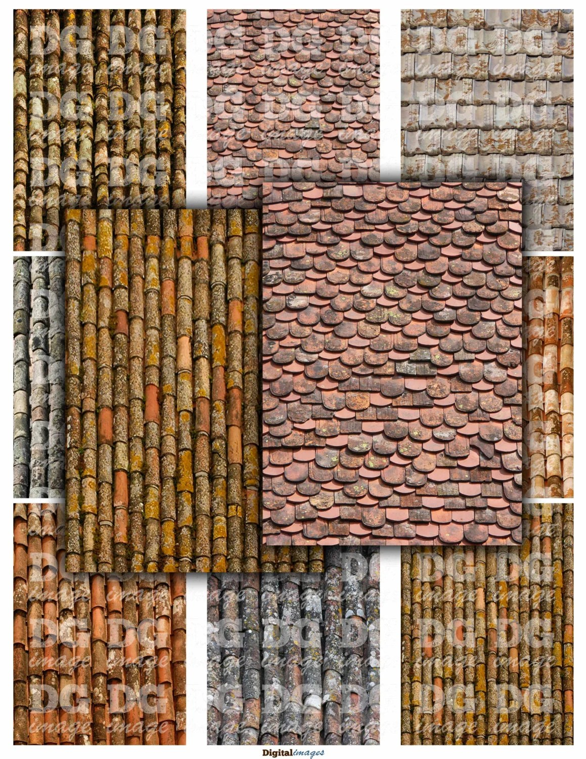 Aged Roof Tiles 2 5 X 3 5 Aceo Atc Background Rustic Printable