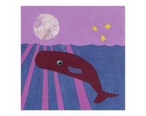 Whale Art Print - Purple and Blue Wall Art - Moon and Stars over the Ocean Water