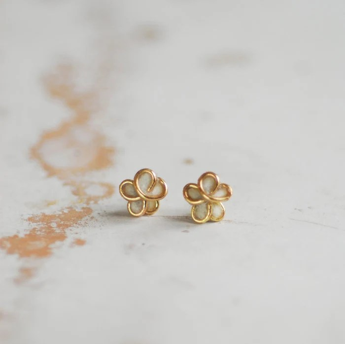 5mm 14k Gold Forget Me Not Post Earrings in Cream White, Paper Jewelry, Baptism Gift, Bridal Bridesmaid Bride Wedding Gift, Anniversary.. - TaylorsEclectic