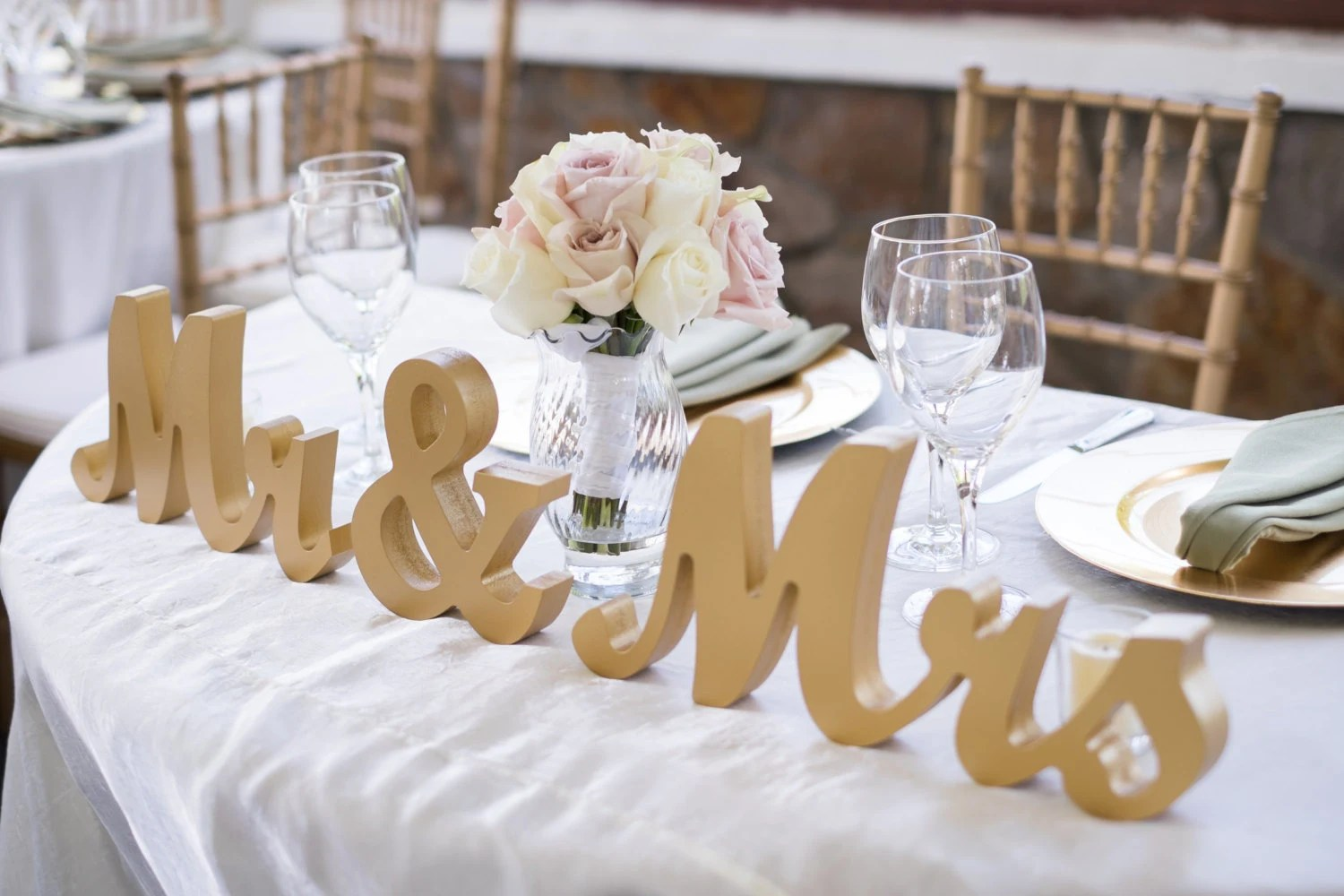Gold Mr And Mrs Wedding Signs Table Signs For Sweetheart Table