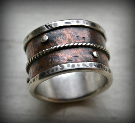 Mens Wide Band Wedding Ring Rustic Fine Silver And Copper
