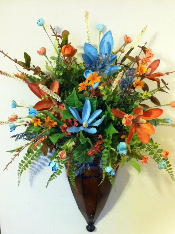 Wall Sconce Brown Metal Blue Coral Green by DesignTwentyNineSC on Wall Sconce Floral Arrangements Arrangement id=67031
