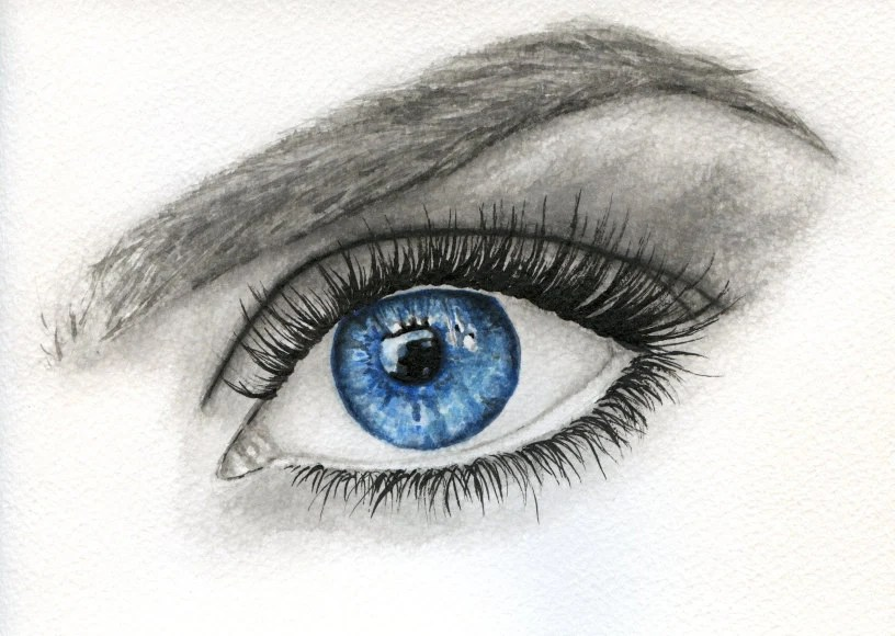 close up water color painting of a woman's blue eye