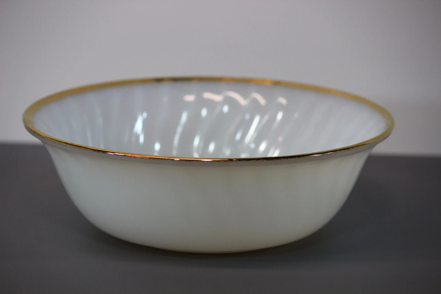 Vintage Fire King Ware Milk Galss Serving Bowl With Gold
