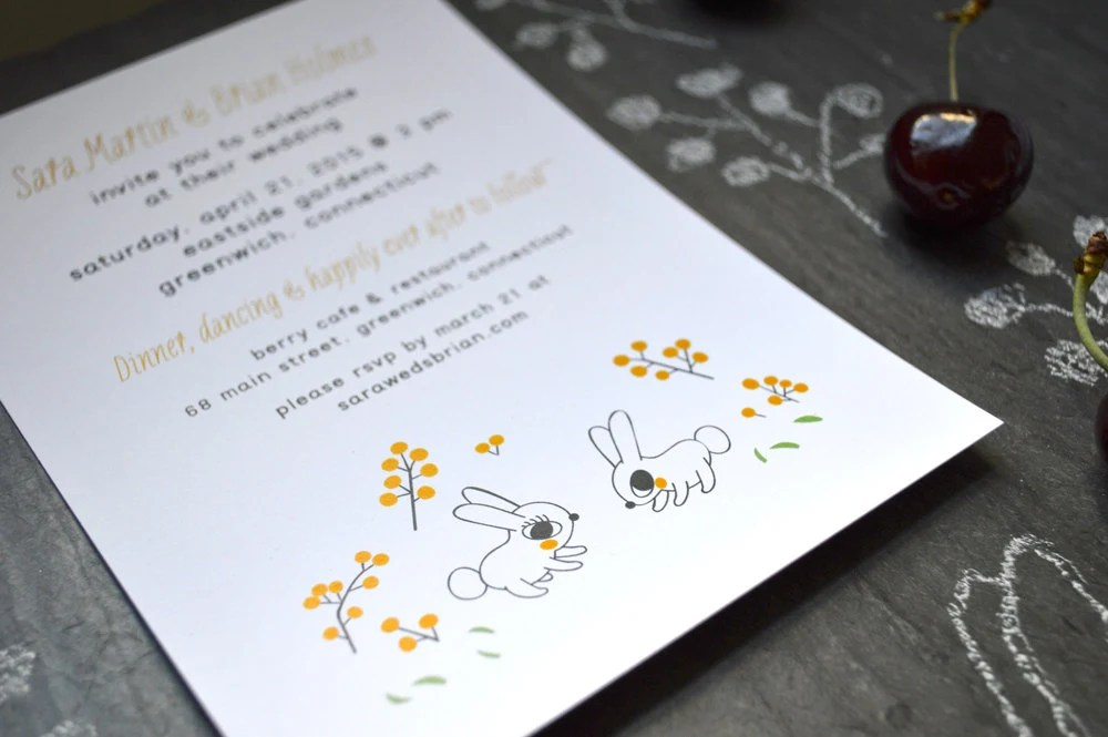 Wedding Invitations Recycled Paper: Happy Rabbits Wedding Invitations