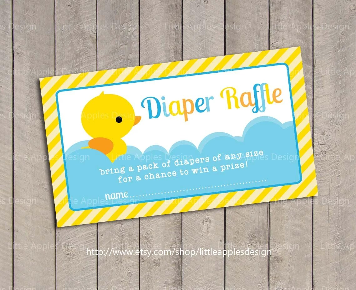 Baby Shower Diaper Raffle Tickets Rubber Duck Baby Shower